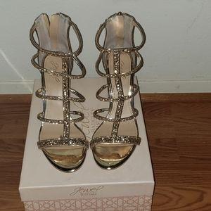 Badgley Mischka Gold Glitter Chunky Heel Sandals